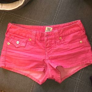 True religion 25 pink denim shorts